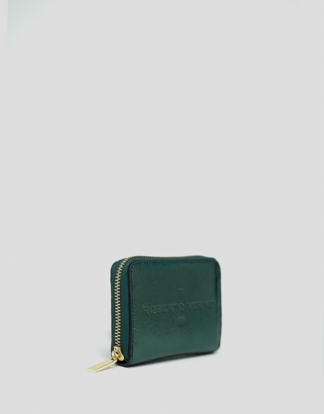 Green metalized leather coin purse