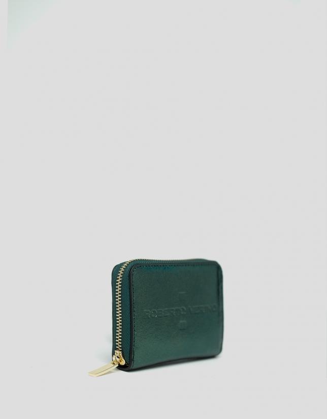 Porte-monnaie en cuir métallisé vert