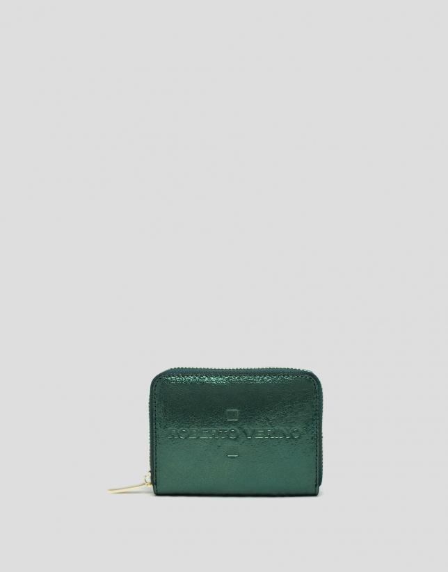 Monedero piel metalizada verde