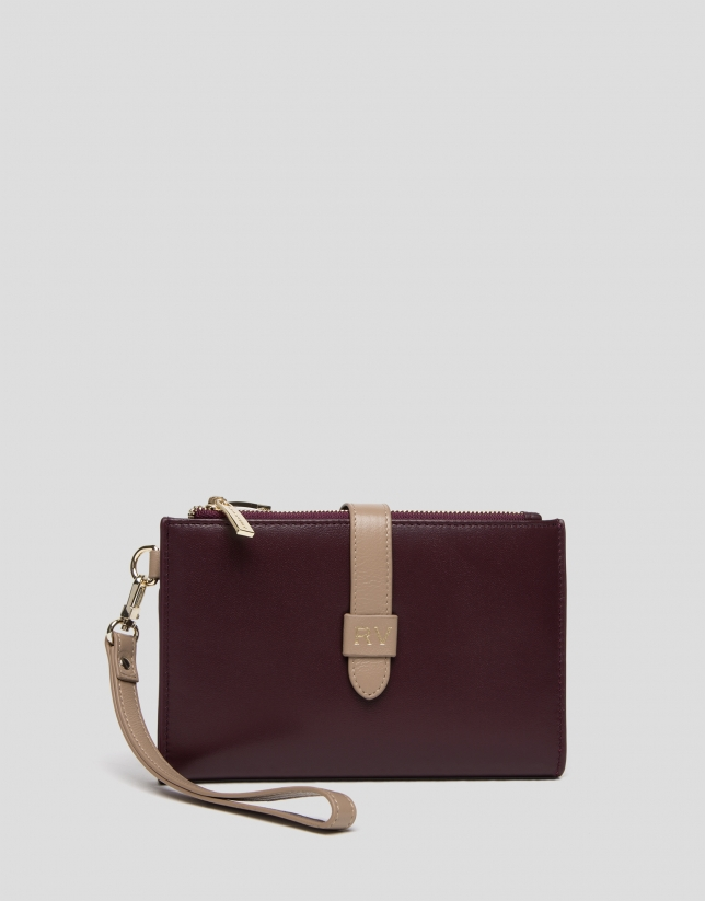 Burgundy two-part leather wallet