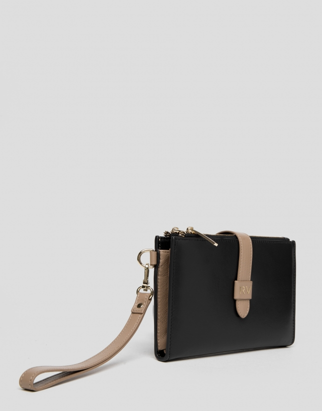 Portefeuille double en cuir noir