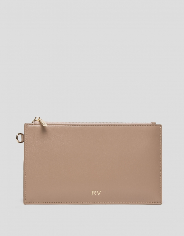 Beige leather flat wallet