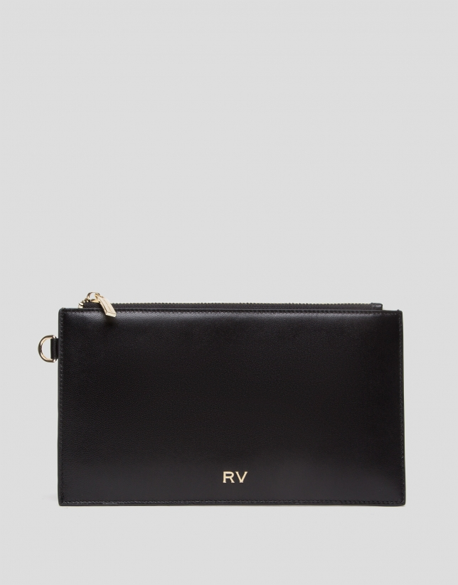Black leather flat wallet