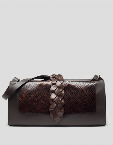 Brown Laura shopping bag with snakeskin flap