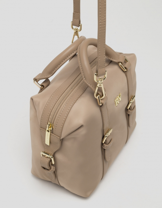Beige Bora-Bora nylon mini bowling bag