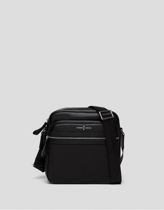 Black nylon two-part shoulder bag