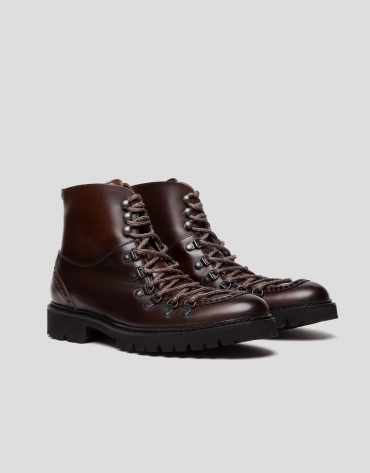 Brown leather mountain-style ankle-boots