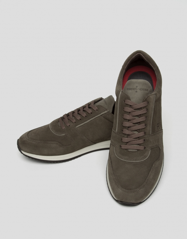 Brown leather and suede running shoes
