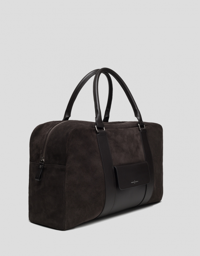Brown split leather travel bag