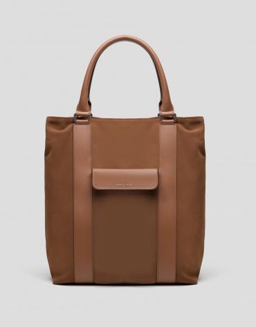 Camel split leather shopping bag