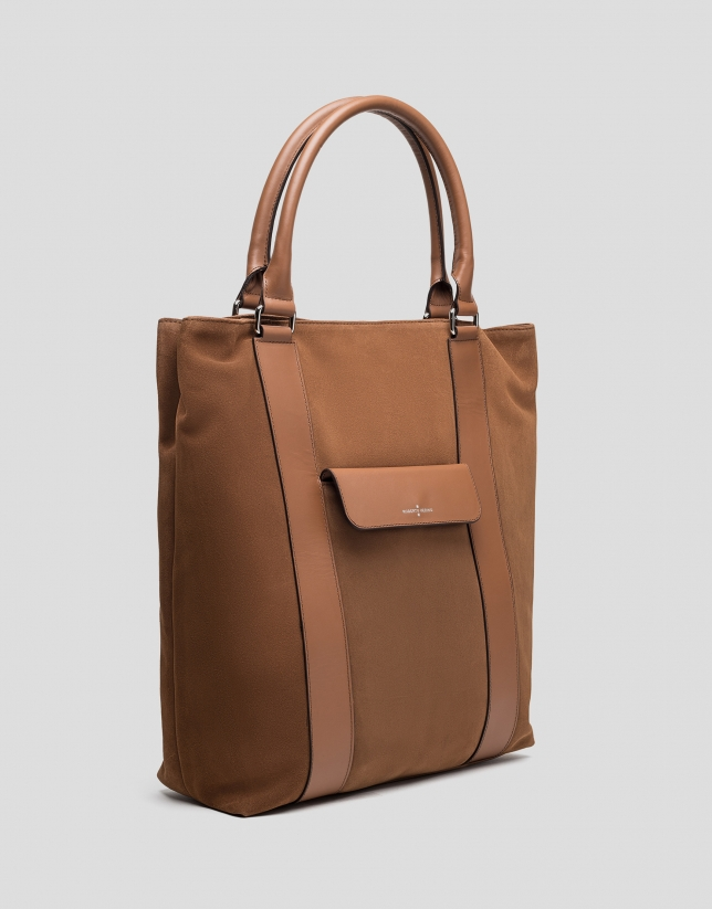 Camel split leather shopping bag