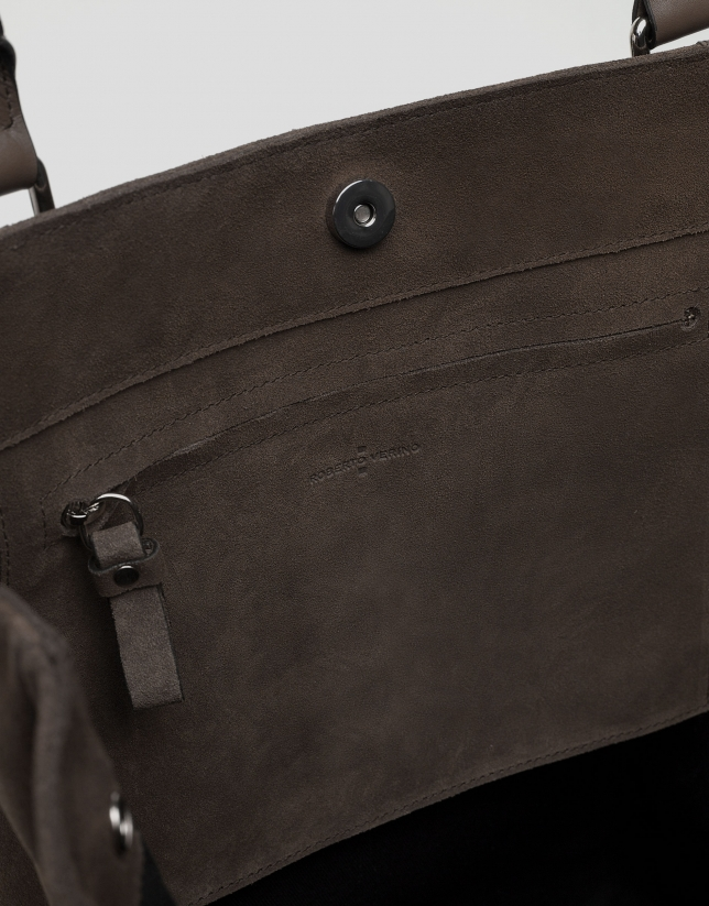 Brown split leather shopping bag