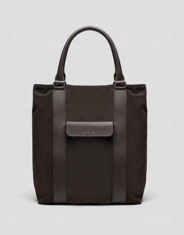 Brown split leather shopping bag