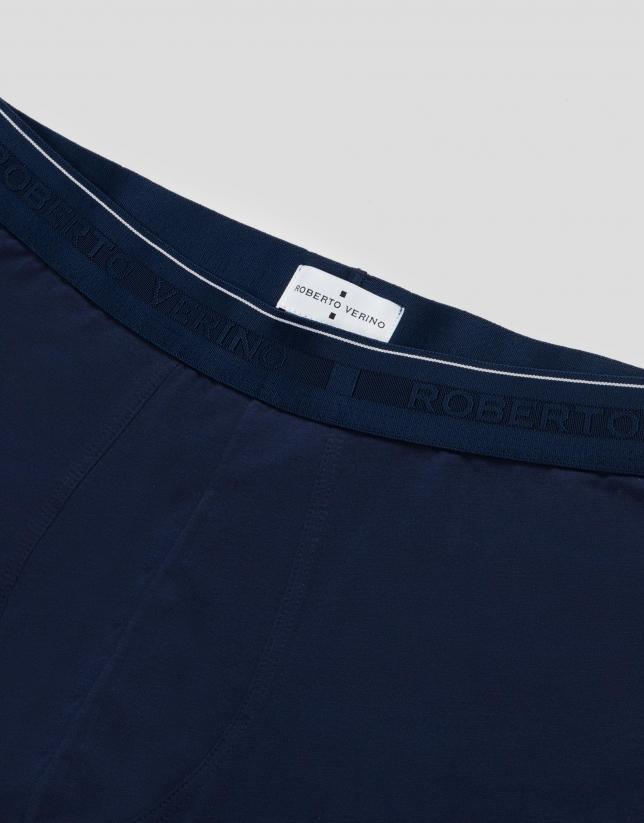 Plain blue knit boxer shorts