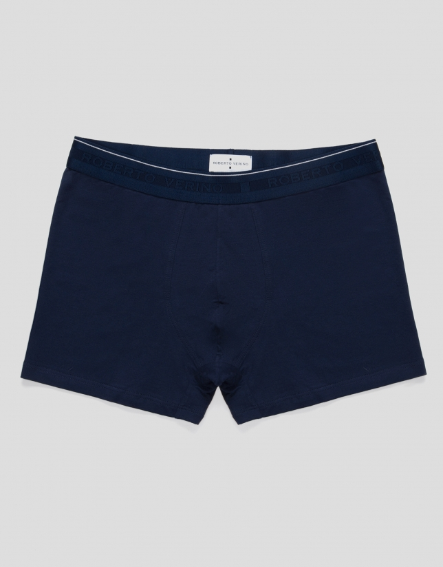 Plain blue knit boxer shorts