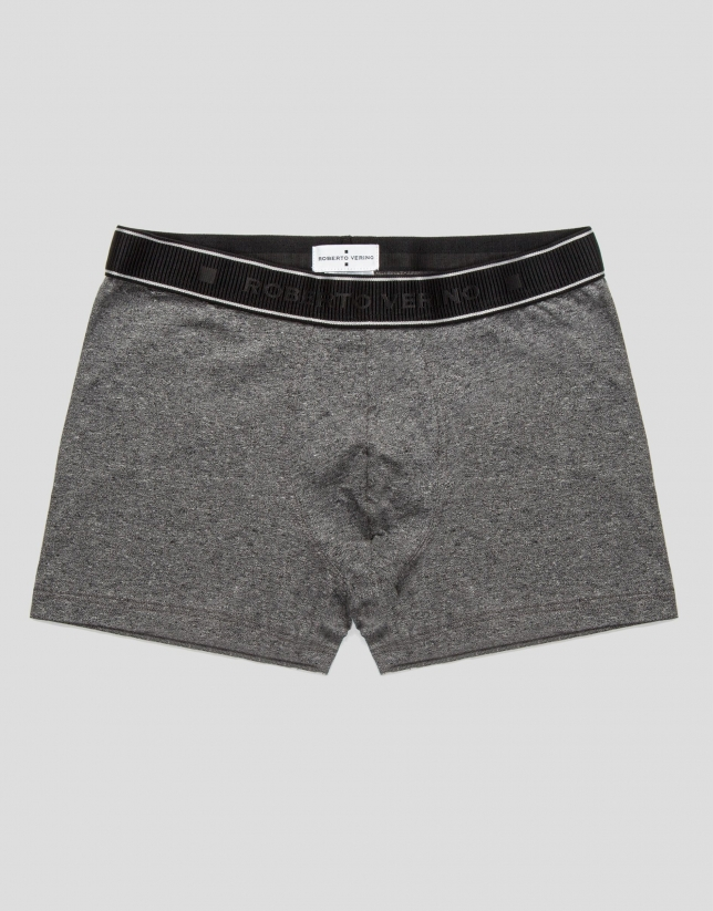 Gray melange knit boxer shorts