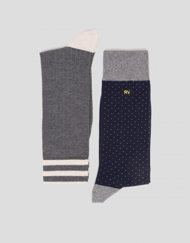 Pack calcetines canalé gris/azul con topos amarillos