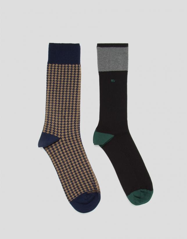 Lot de chaussettes pied de poule/bloc de couleurs
