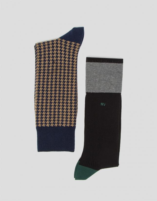 Pack calcetines pata de gallo/colour block
