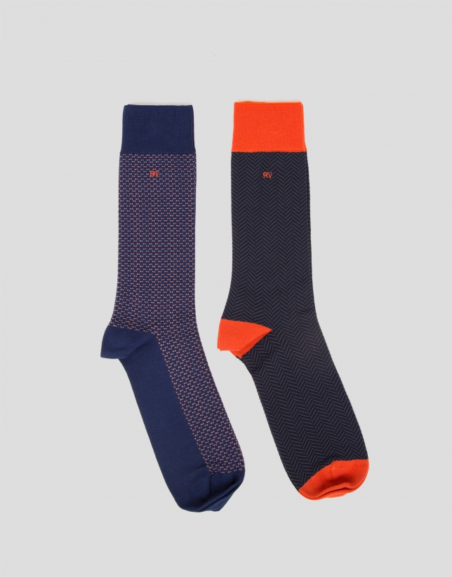 Pack of herringbone and tie motif jacquard socks
