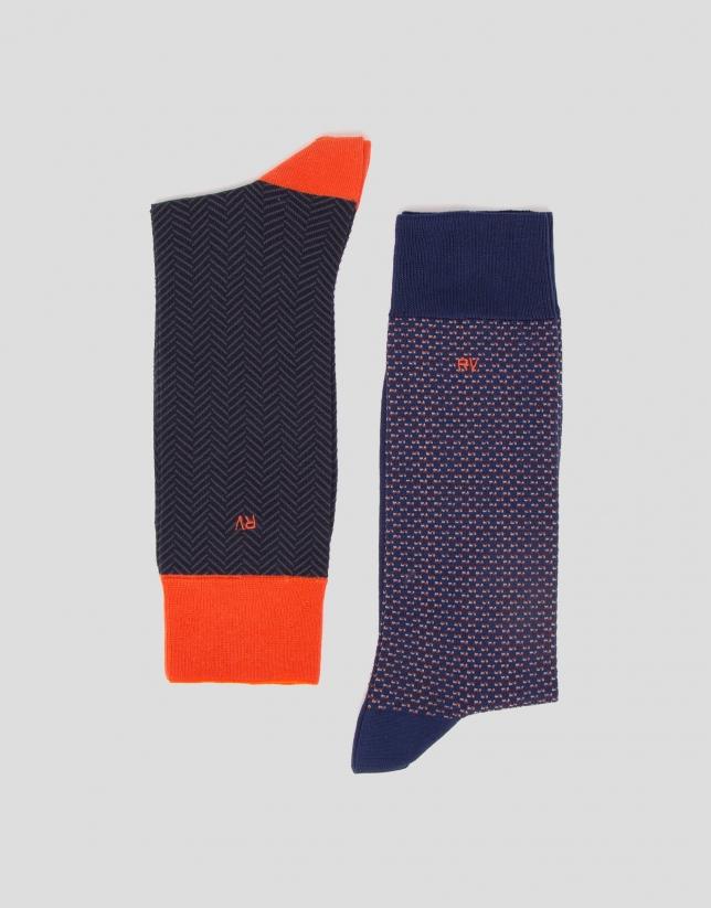 Pack of herringbone and tie motif jacquard socks