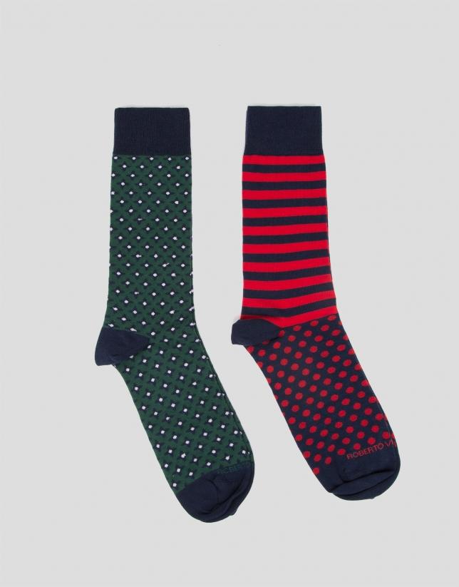 Pack calcetines rayas/jacquard corbatero