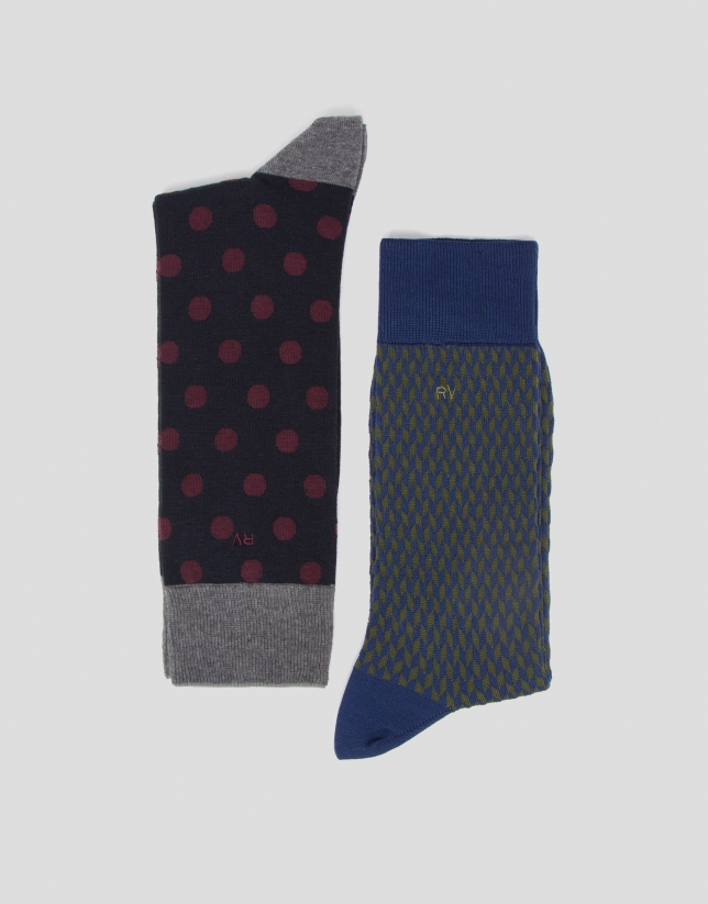 Pack of herringbone and polka dot socks