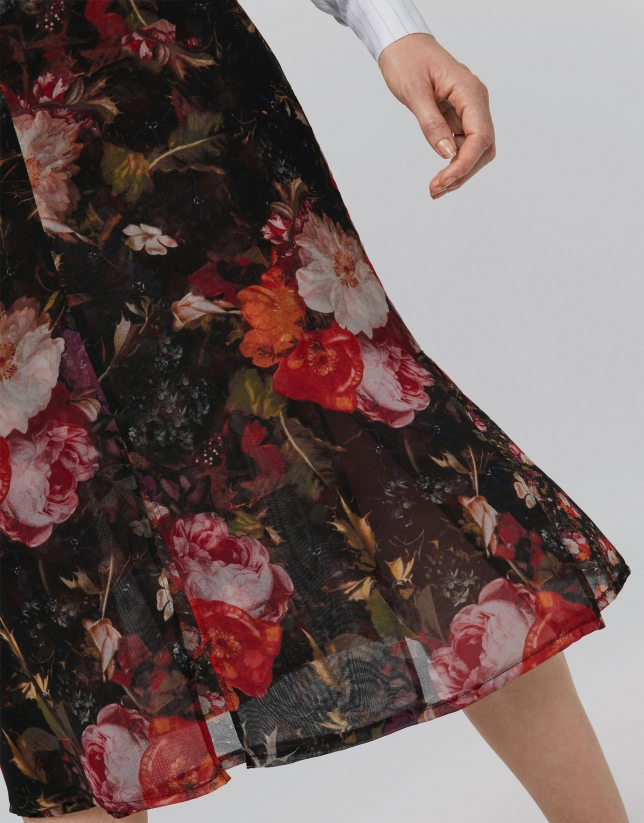 Burgundy double-layer, full skirt, with floral print