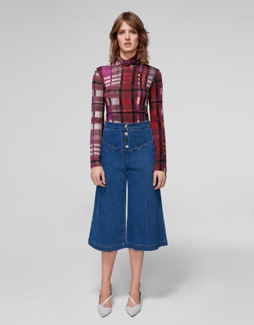 Bell-bottom jeans, with high waist