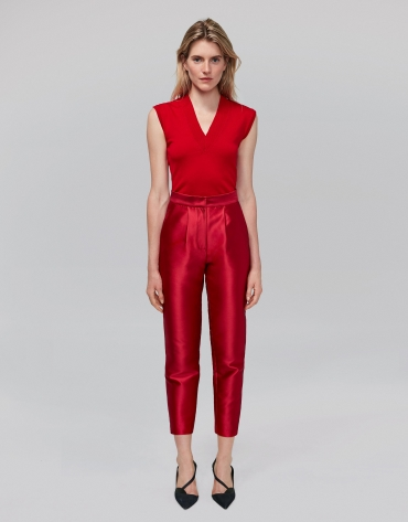 Red silk ankle-length pants