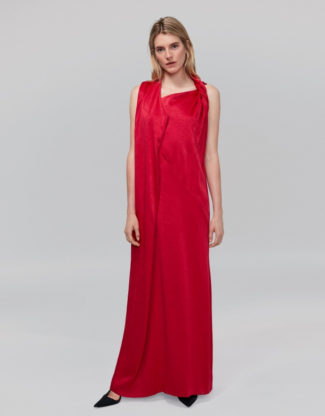 Long, red party dress with asymmetric hem