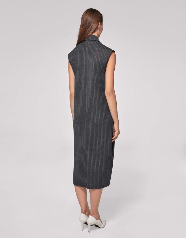 Gray, pin-striped, midi dress