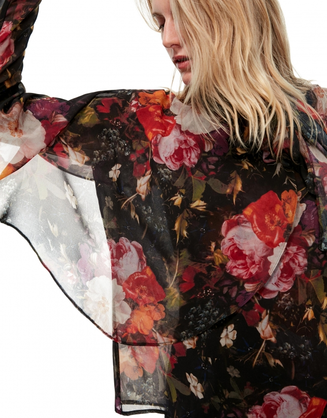 Burgundy floral print, wrap-around blouse