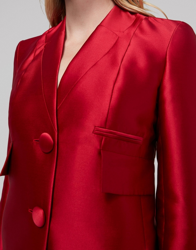 Red silk suit jacket