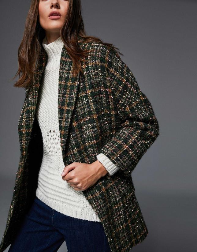 Green checked jacquard three-quarter length jacket