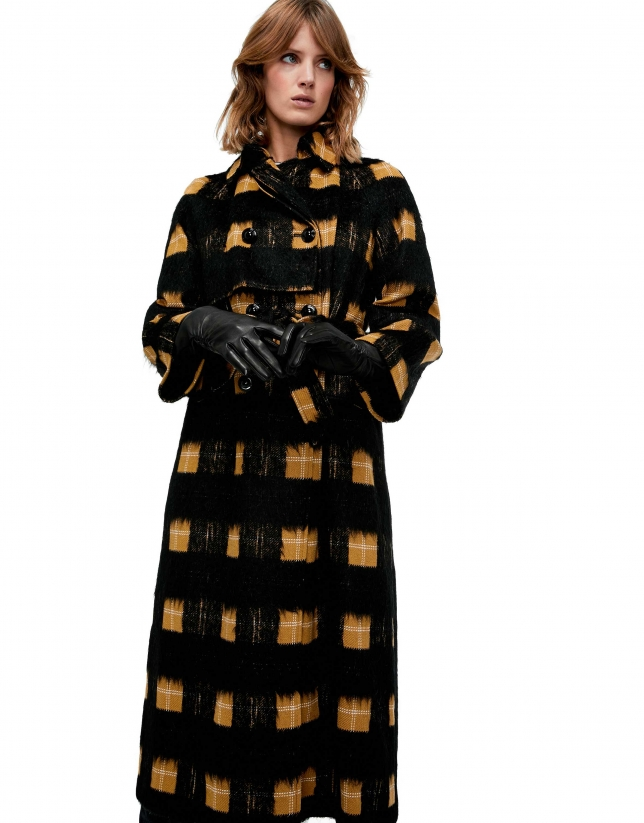 Long, black checked coat