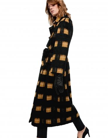 Manteau long noir à carreaux