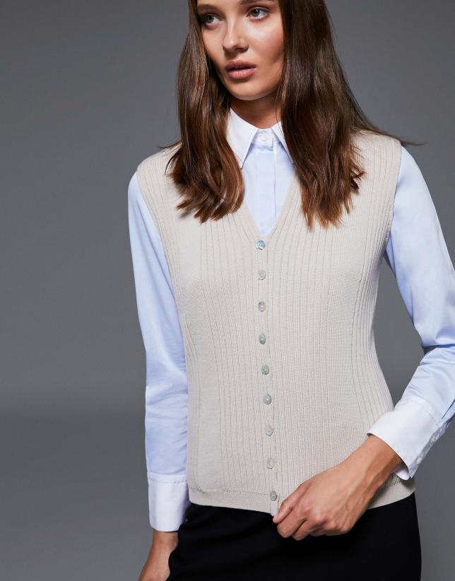 Beige ribbed merino wool vest