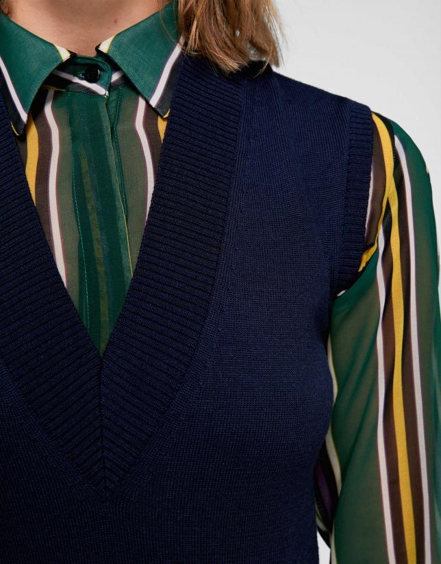 Chaleco de lana merino azul marino