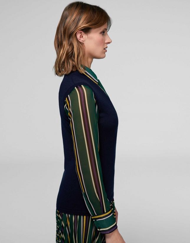 Navy blue merino wool kinit vest