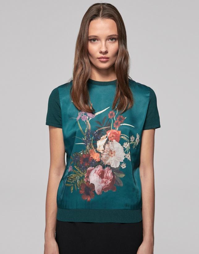 Camiseta punto verde estampado floral