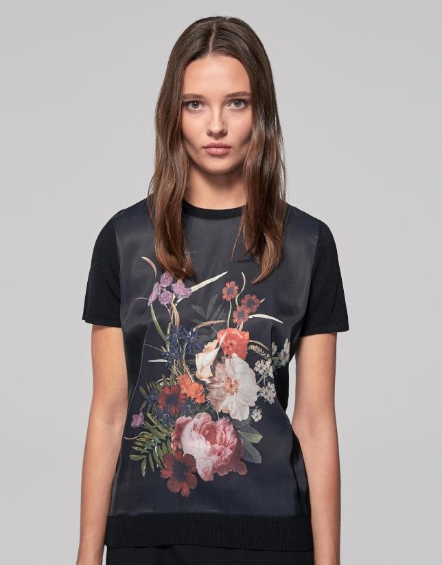 Black floral print knit top