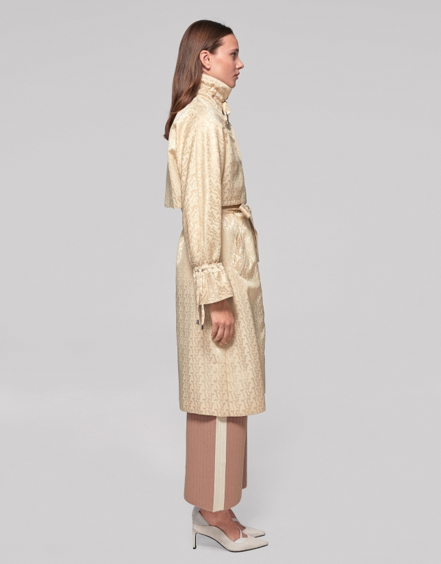 Long ivory trench coat
