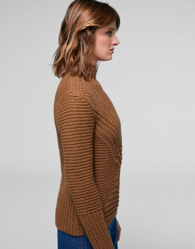 Brown knit sweater with openwork and knotted design