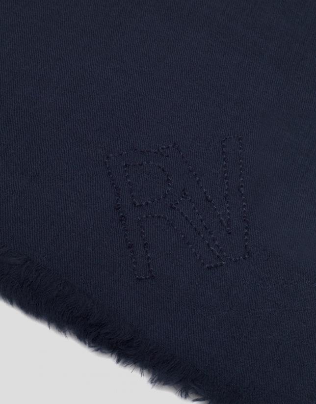 Etole en laine bleu
