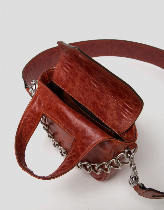 Terra cotta leather Claude mini shoulder bag