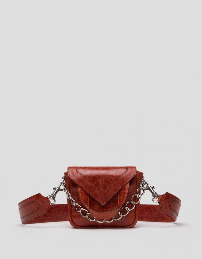 Mini sac à bandoulière Claude en cuir couleur rouille