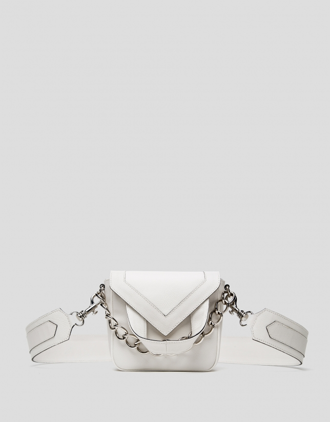 Off white, leather Claude mini shoulder bag