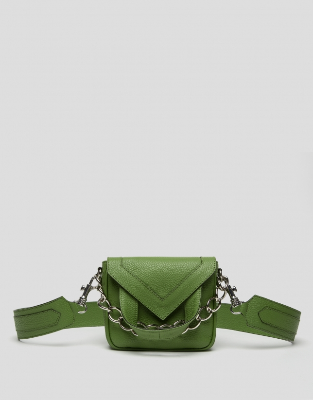 Green leather Claude mini shoulder bag