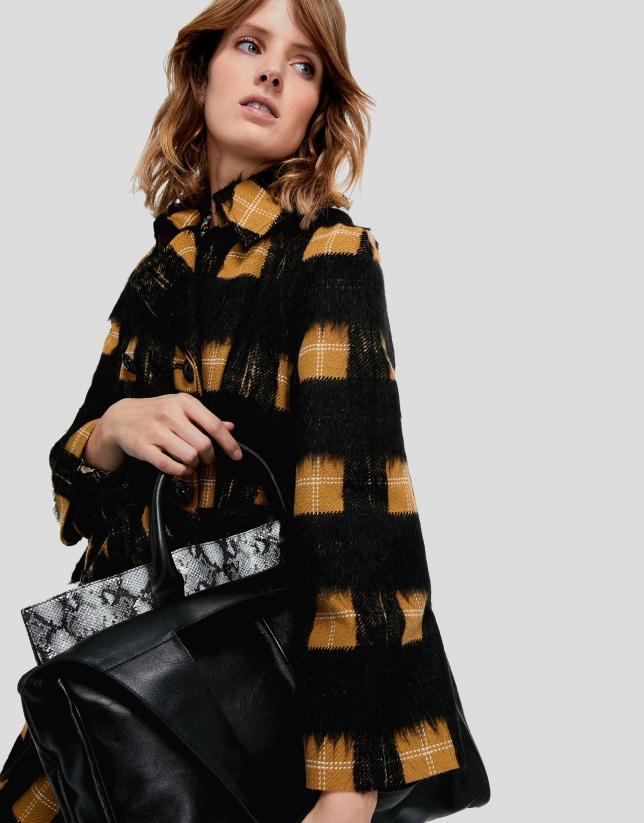 Leather, snakeskin-print, Harriet shopping bag